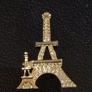 Jewelry - Eiffel Tower Gold Tone Pin With Rhinestones!!!
